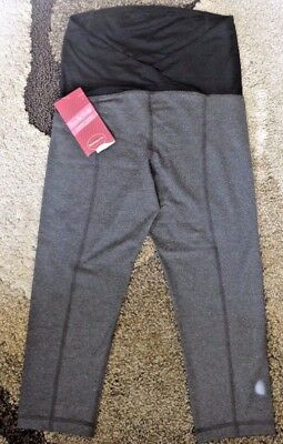 NWT Ingrid and Isabel Active Capri Pants with Crossover Panel Maternity M Gray