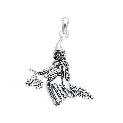 Witch Broom Cat Pagan Wicca .925 Sterling Silver Pendant by Peter Stone Jewelry