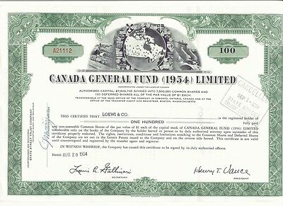 1954 Canada General Fund Limited Stock Certificate