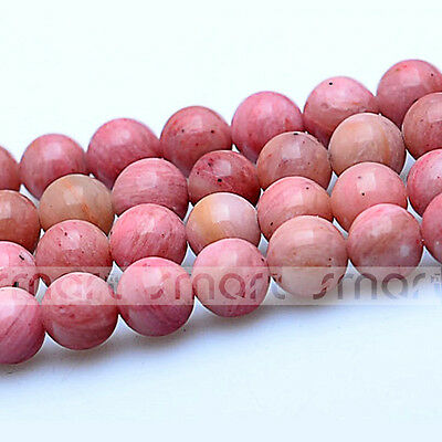 "Natural Rhodochrosite Round Loose Beads 15.5"" Inches Strand 4 6 8 10 12mm"