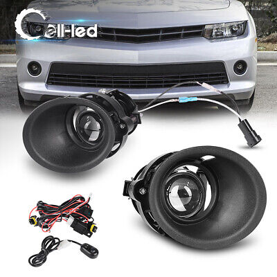 for 2014 2015 Chevy Camaro 3.6L V6 Clear Projector Fog Lights Lamps Kit+Wiring