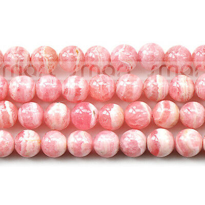 "3A Natural Rhodochrosite Round Loose Beads 15.5"" Inches Strand 4 5 6mm"