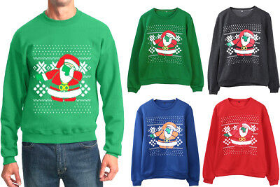 Unisex Ugly Christmas Sweater Loose Womens Mens Party Hoodie Sweatshirt US Stock