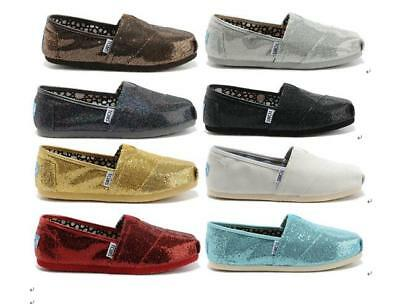 Authentic Toms Classics Glitter Womens Shoes  Slip On Flats