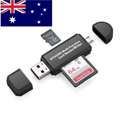 1X Micro USB OTG to USB 2.0 Adapter SD/Micro SD Card Reader with Standard USB AU