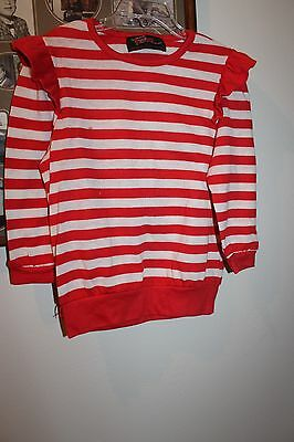 1970s Girls' Fame Red and White Striped Long-Sleeve Ruffle Frill Flutter Top