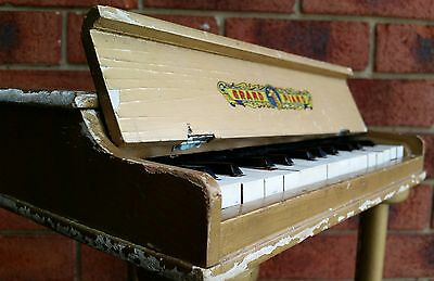 VINTAGE RETRO WOODEN TOY GRAND PIANO 1950s JAPAN SHABBY CHIC DISPLAY DECOR ITEM