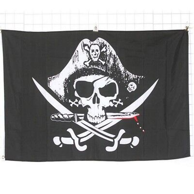 3 x5ft 90x150cm Skull Cross Sabres Swords Jolly Pirate Grommets Pirate Flag