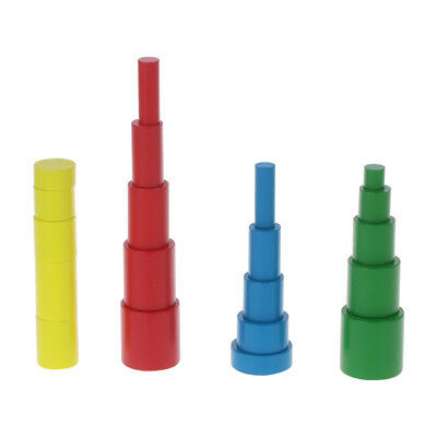 Montessori Cylinders Educational Wooden Toys Kids Children Early Teaching Gift