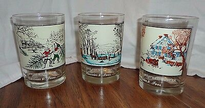 Currier & Ives Glasses  Arby's  1978 Collector's Glasses- Set Of 3