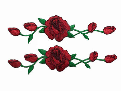 2 Pcs Rose Red Rose Flower Embroidery Iron On Applique patches for clothes DIY