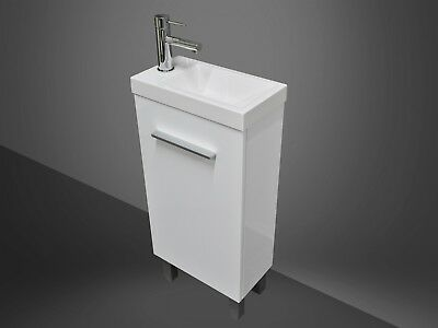 Bathroom Vanity Unit Compact 400mm Polyurethane Freestanding + Poly Marble Basin