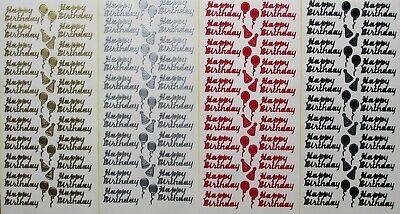 HAPPY BIRTHDAY PEEL OFF STICKERS Balloons Party Hats Script