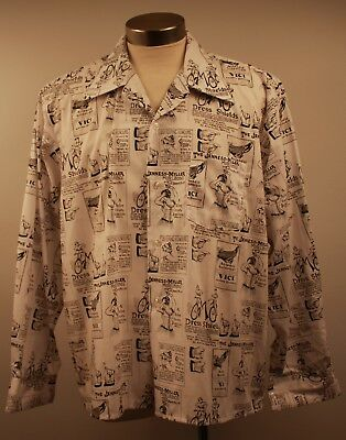 X LARGE MENS ORIGINAL VINTAGE 1970s VICTORIAN PRINT SHIRT. BLACK ON WHITE.