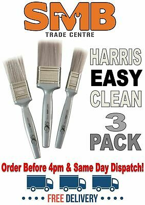 HARRIS EASY CLEAN PAINT BRUSHES SET 3 PACK FREE DELIVERY SAME DAY DISPATCH (4pm)