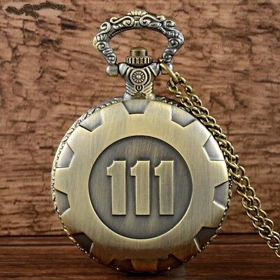 Fallout 4 Vault 111 Electronic Games Bronze Tone Pocket Watch Pendant Gift Idea