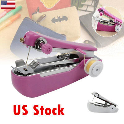 Mini Hand-Held Sewing Machine Portable Home Textiles Stitch Clothes Fabrics Pock