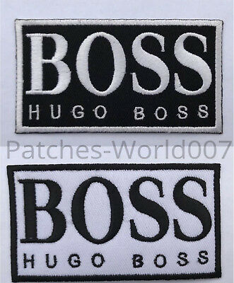 HUGO BOSS BLACK&WHITE BACKGROUND  Embroidered Sew or iron On  patch