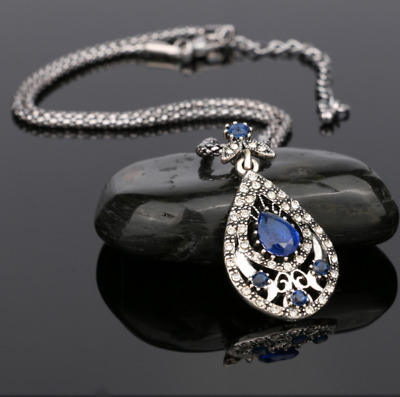 NEW Beautiful Antique Silver Tone Royal Blue Crystal Necklace, UK Seller