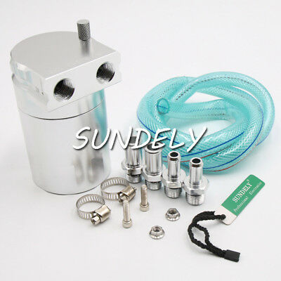 Silver 9mm & 15mm Baffled Alloy Aluminum Oil Catch Can Reservoir Tank Universal
