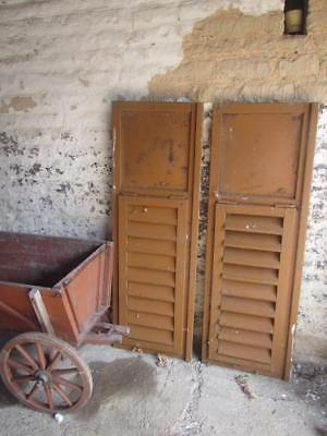 VINTAGE WOODEN SHUTTERS WINDOW DOORS FRENCH 129 CM TALL RECLAIMED   FREE post
