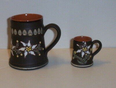 Vintage Enamel Slip Decorated Redware Pottery Mini Mug & Large Mug sgnd SCHWEIZ