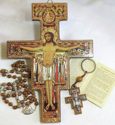 San Damiano Wall Cross Plaque, Olive Wood Rosary & Key Ring