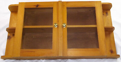 Hand Made Solid Pine Display Shelves Cabinet Cupboard Wall Mounted Glass Doors