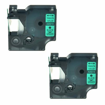 2PK Black on Green Label Tape Compatible for DYMO D1 45019 LabelManager 160 12mm