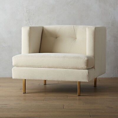 cb2 modern super comfortable snow white armchair, great conditions