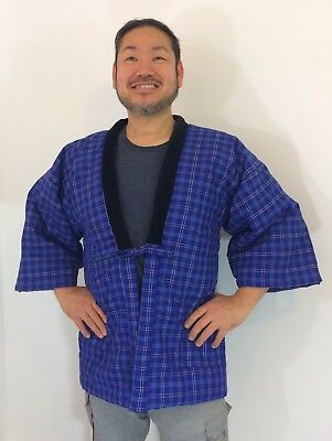 Authentic Japanese blue hanten jacket for men, M, housecoat, amazing c. (AB1652)
