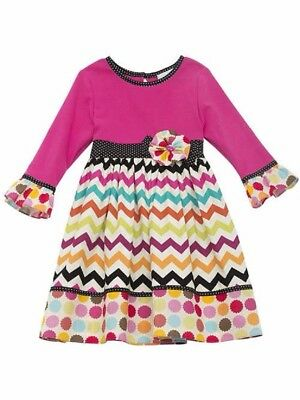 NWT Rare Editions Jumping Fences Fall Chevron Polka Dot Dress (size 6)