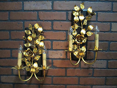 "Vintage Antique Italian Gold Gilt Pair Wall Sconces 15 1/2"" T by 10"" W"