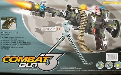 Combat 3 Army Commando Machine Gun Pistol With Lights And Sounds Kids Toy- GN