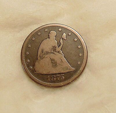 1875-CC Liberty Seated Twenty Cents - Scarce Date - Nice Looking Coin