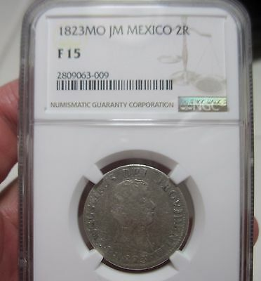 1823 JM (MEXICO) 2 REALES (ITURBIDE) SILVER VERY SCARCE YEAR -2 year type --NGC-