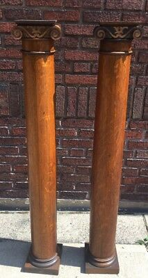 Pair Of Antique Victorian Tiger Oak Columns Posts Architectural 55""