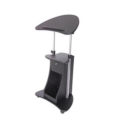 Lectern Stand Up Portable Adjustable Rolling Pulpit Podium Shelf Work Station