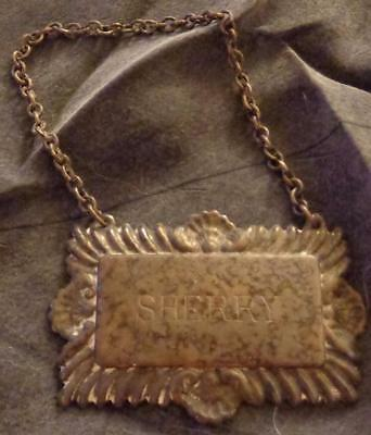 """Hallmarked Antique Silver Plate on Brass """"Sherry"""" Bottle Tag - GREAT OLD TAG"""