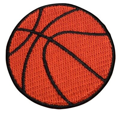 #1796 Iron on Sports Badge Yellow Basketball Applique Patch