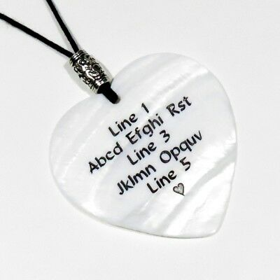 Custom Engraved Shell HEART Pendant Necklace - WHITE MOP - Personalized - 2 Inch