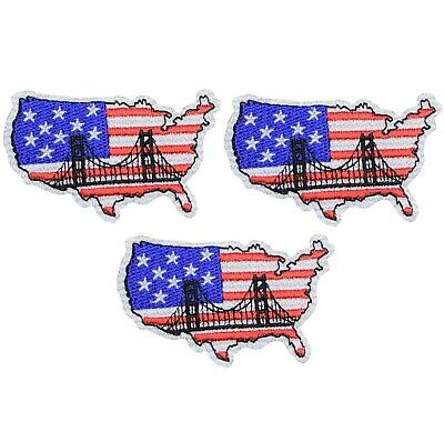 United States Applique Patch - Map of USA, American Flag (3-Pack, Iron on)
