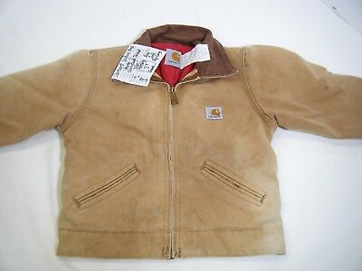 Boys / Girls 4 YOUTH * CARHARTT * Brown QUILTED Barn Coat Cotton Duck Workwear
