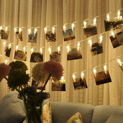 20 LED 2.2M Photo Peg Clip LED Fairy String Light Wedding Hanging Picture Decor