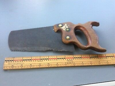 Antique Unusual Small Rip Saw , Hand Saw, Wood Handle , Brass Screws