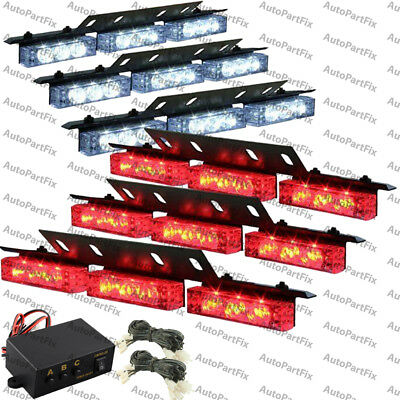 54 LED RED WHITE Emergency Warning Strobe Hazard Lights Bars Deck Dash Grill