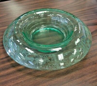 Rare! Black Forest Stag Green Rolled Edge Console Bowl - Stunning Paden City
