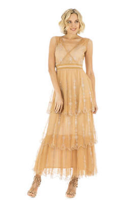 50% Off sale! Vintage Inspired Empire Waist Party Dress in Gold by Nataya 40235