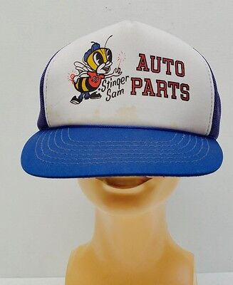 Original Vintage Stinger Sam Auto Parts Mesh Trucker Cap Hornet Advertising Hat