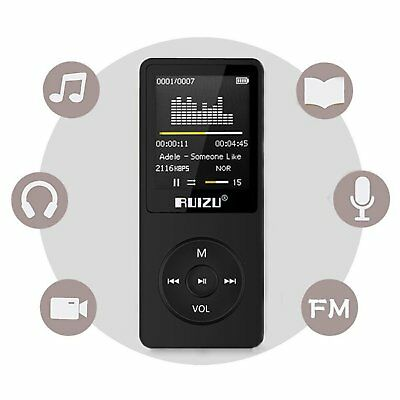 MP3 Player 64GB Micro SD Card Music Media Portable Voice Recorder FM Radio Black